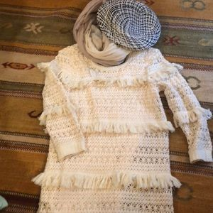 CREAM TIERS LOVEY LAYERED SWEATER NWT